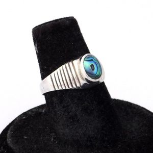 Mexican Abalone 925 Silver Ring Vintage Petite 5.5